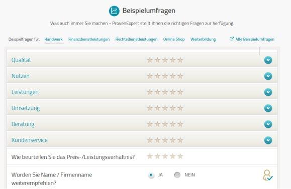 Screenshot Beispiel Umfrage: ProvenExpert.de zur Generierung von Kundenfeedbacks