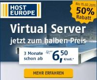 Virtuelle Webserver bei Hosteurope für die ersten 3 Monate mit 50% Rabatt