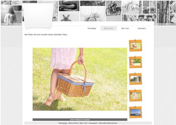 Foto Webseite mit Fotogalerie, erstellt mit WebSite X5