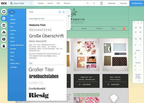WixStores Homepage Baukasten
