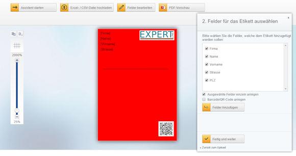 Seriendruck für Adressetiketten mit dem kostenlosen Online Herma EtikttenAssistent