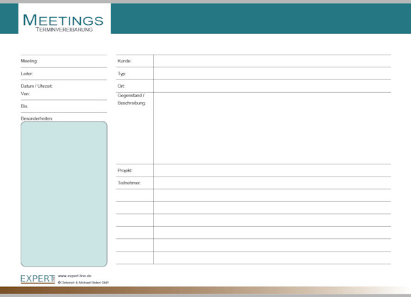 PDF Geschäftsformular Meetings Terminvereinbarung