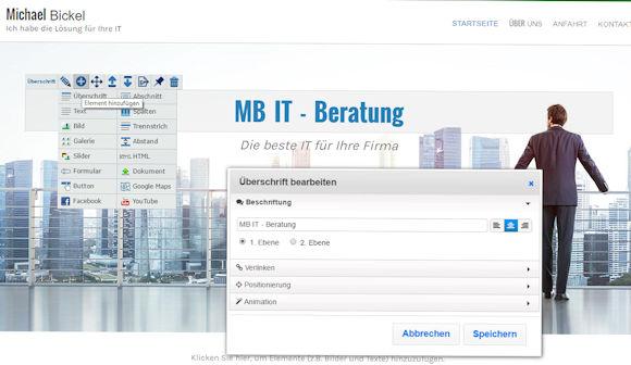 Homepage Baukasten Webvisitenkarte.net - Bearbeitungsbereich