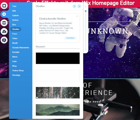 Streifen Design mit dem Wix Homepage Editor