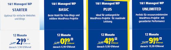 1und1 WordPress Bloghosting Angebote