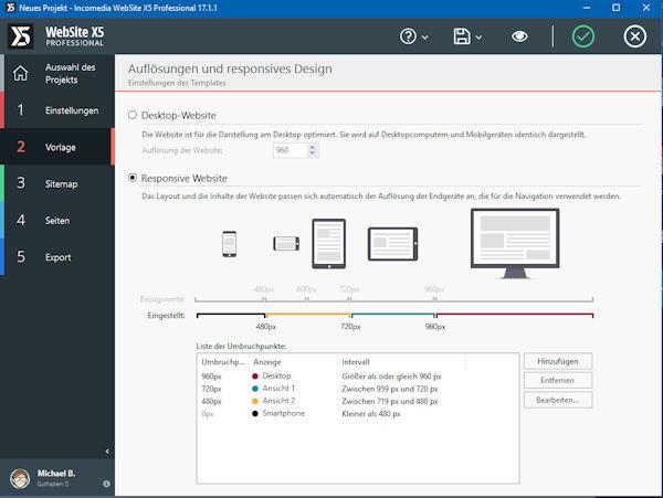 WebSite X5 responsive Design